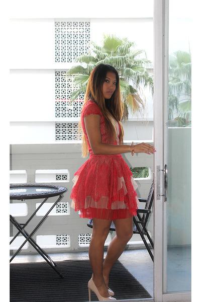 Rose Gold Aldo Bracelets- Red Lace BCBG Dresses - &quot-The Holiday ...