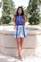 blue cameo top - floral blue cameo skirt - white strappy sandals Zara heels