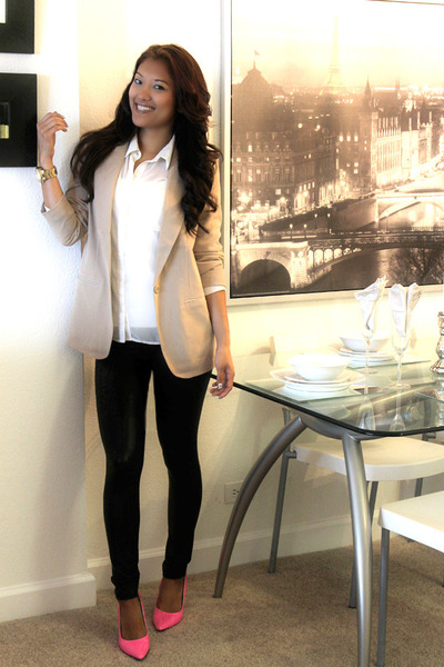 neon pumps Aldo heels - Express leggings - nude f21 blazer - sheer f21 blouse