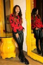 red Parker jacket - black quilted leather DL 1961 Jeans jeans