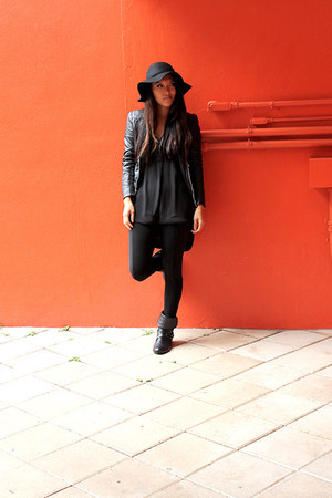 black H&M top - black Forever 21 hat - black leather black Express jacket