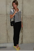 black J Crew pants - green Steve Madden shoes - white Forever 21 shirt - black F