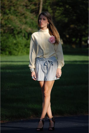 yellow vintage blouse - silver Forever 21 shorts - black seychelles shoes