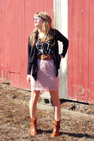 vintage boots - TJ Maxx shirt - Forever 21 sunglasses - Target skirt