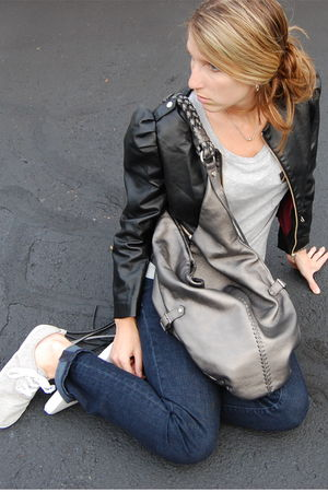 black H&M blazer - silver Forever 21 shirt - silver H&M shoes - silver linea pel