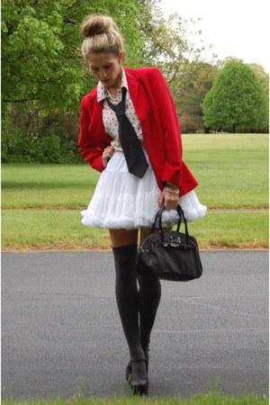 vintage blazer - kate spade bag - Urban Outfitters top - American Apparel skirt