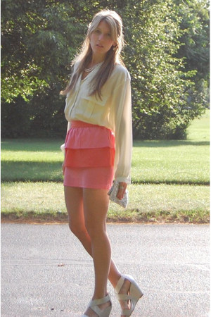 vintage shirt - vintage bag - H&M skirt - Aldo wedges