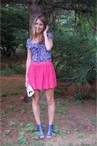 pink Zara skirt - blue Zara shirt - white banana republic purse - blue Steve Mad