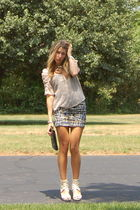 white H&M skirt - beige Urban Outfitters skirt - beige Forever 21 shoes - black