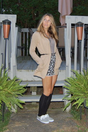 beige Anthropologie cardigan - silver Playsuit- F21 suit - black Urban Outfitter