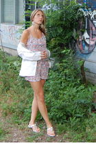 pink Zara romper - white Anthropologie blazer