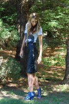 white Forever 21 shirt - black Mary janes Junk skirt - blue Steve Madden shoes