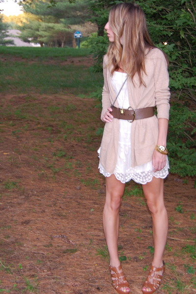 beige Anthropologie cardigan - beige Forever21 dress - brown Cynthia Vincent for