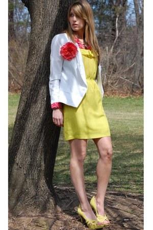 Forever 21 dress - Anthropologie blazer - vintage blouse - Steve Madden heels