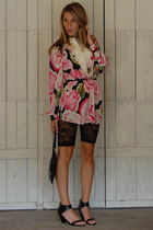 pink Vintage DVF blouse - beige J Crew top - black Jeffrey Campbell shoes - Fore