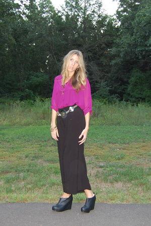 purple Style Sofia blouse - black H&M skirt - black Jeffrey Campbell shoes