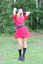 red vintage dress dress - black vintage hat - black Nine West shoes