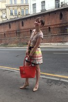 yellow Choies skirt - orange DKNY bag - nude Jimmy Choo pumps