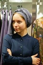 navy wool Irada dress - Irada scarf