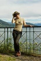 dark khaki Diesel jeans - beige armani shoes - dark khaki Paul Smith hat