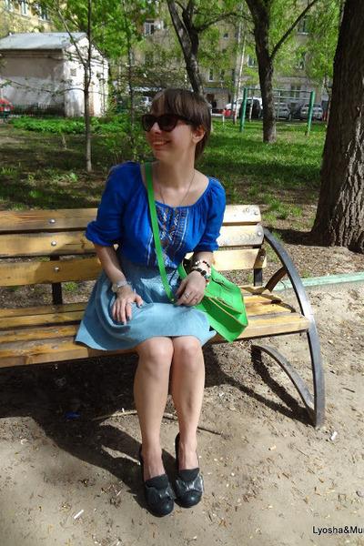 blue aztec Velvet top - green russian brand Classic Satchel bag