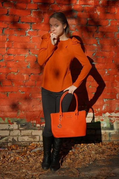 orange DKNY bag - black Topshop jeans - orange Lovelywholesale blouse