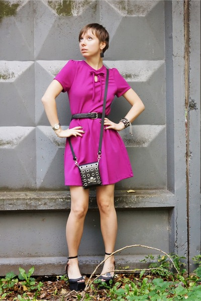 hot pink Topshop dress - black spiked Jeffrey Campbell sandals