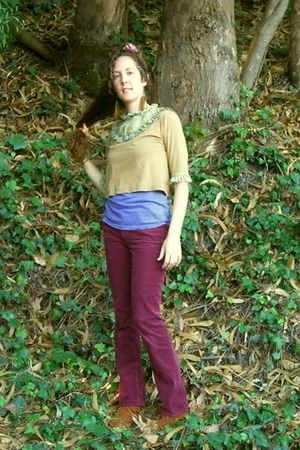purple Mossimo shirt - green the works shirt - purple Old Navy pants - brown Min