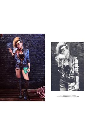 snakeskin roberto cavalli sweater - France purse - torn jean boo shorts