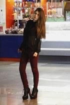 black Forever21 blouse - magenta pull&bear pants