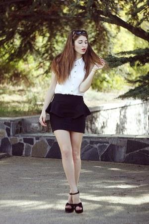 black Zara skirt - black Steve Madden heels - off white new look blouse