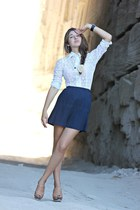 white vintage blouse - blue vintage skirt