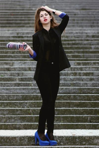 black oodji blazer - black Forever21 blouse - blue Forever 21 heels