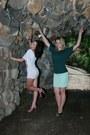 Green-blouse-aquamarine-skirt-black-sandals