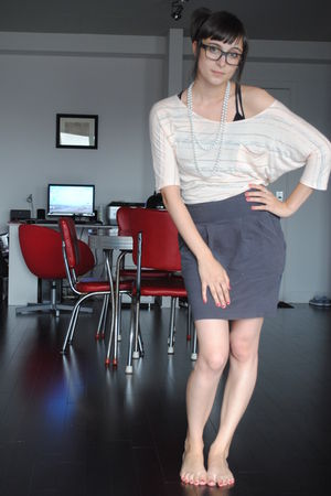 beige modcloth shirt - gray urban behavior skirt - white necklace