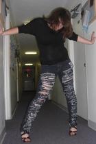 black Charlotte Russe shoes - PacSun jeans - black Forever 21 blouse