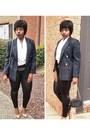 Tartan-blazer-black-quilted-chain-bag-wrapsilk-blouse-pumps