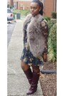 Floral-mesh-dress-turkey-feathers-vest