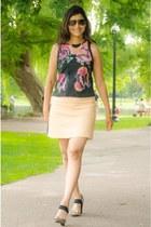 black Forever 21 purse - brown BCBG shoes - peach Zara skirt