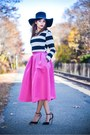 Black-shoes-black-hat-silver-accessories-hot-pink-skirt-black-top