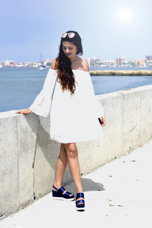 white Yoins dress - white firmoo sunglasses - Parfois watch