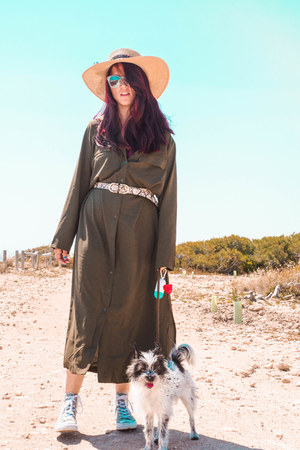 olive green Dropship dress - aquamarine Zara sunglasses - Primark belt