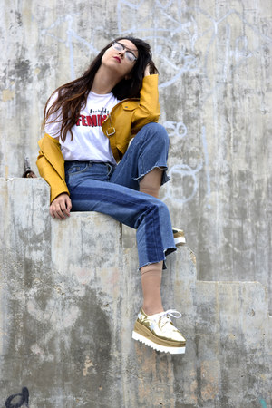 zaful shoes - Rosegal jeans - zaful jacket - cotton Stradivarius t-shirt