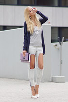 light blue style moi jeans - silver Adidas top - white sheeh heels