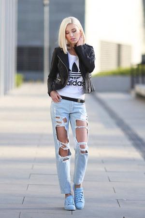 light blue Adidas sneakers