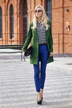 green Zara coat - blue Mohito pants - black heels