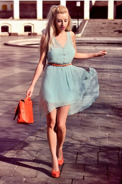 carrot orange H&amp;M bag - aquamarine pull&amp;bear dress - carrot orange Bershka heels