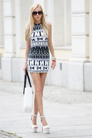 white O bag bag - black Motel Rocks dress - black giant vintage sunglasses