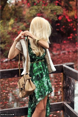 green Mohito dress - tan River Island bag - beige Zara vest