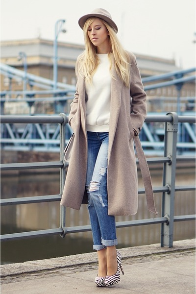 beige Zara coat - sky blue new look jeans - white LoveClothing jumper